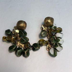 Vintage gold clip on green beaded earrings